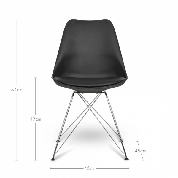 Chaise Eames Pied Eiffel: Eames Inspired White Dining Chair With Eiffel Metal Legs