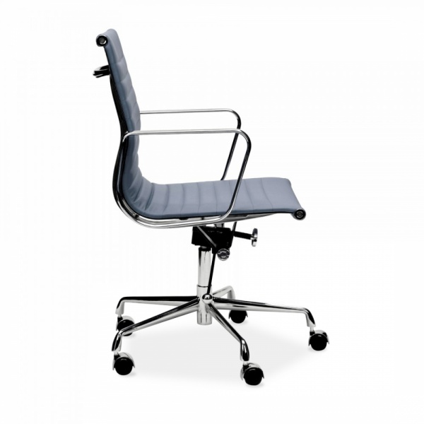Iconic Designs Grey Short Back Ribbed Office Chair