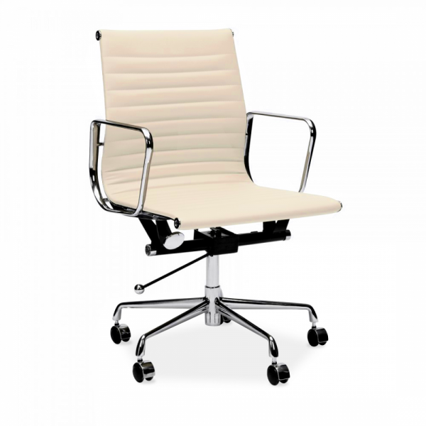 Cream Charles Eames Style Short Back Ribbed Office Chair  Cult UK