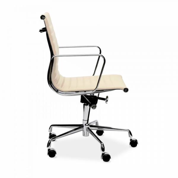 cream charles eames style short back ribbed office chair | cult uk
