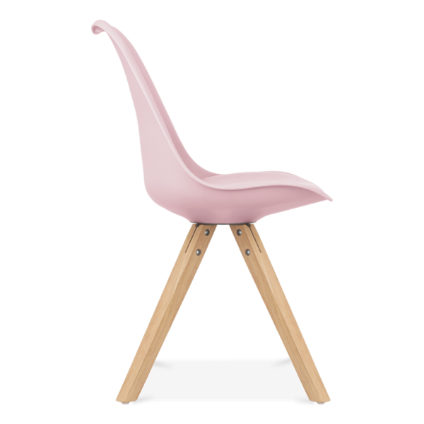 Pastel pink dining chair solid oak wood legs cult for Chaise eames rose pale