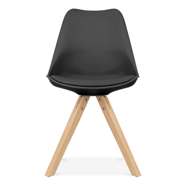Eames Chair Leather black eames inspired chairs with pyramid solid oak wood legs | cult uk