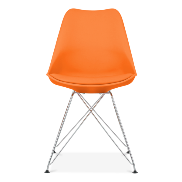Orange Dining Chair With Eiffel Metal Legs Modern Chairs