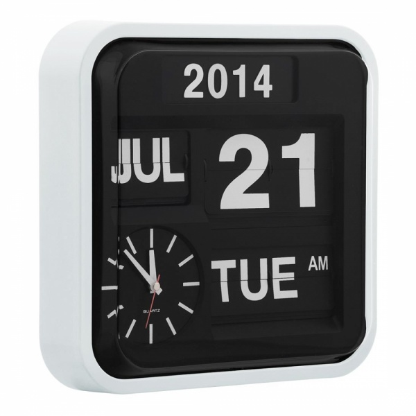 Retro Square Calender Flip Clock In White Wall Clocks