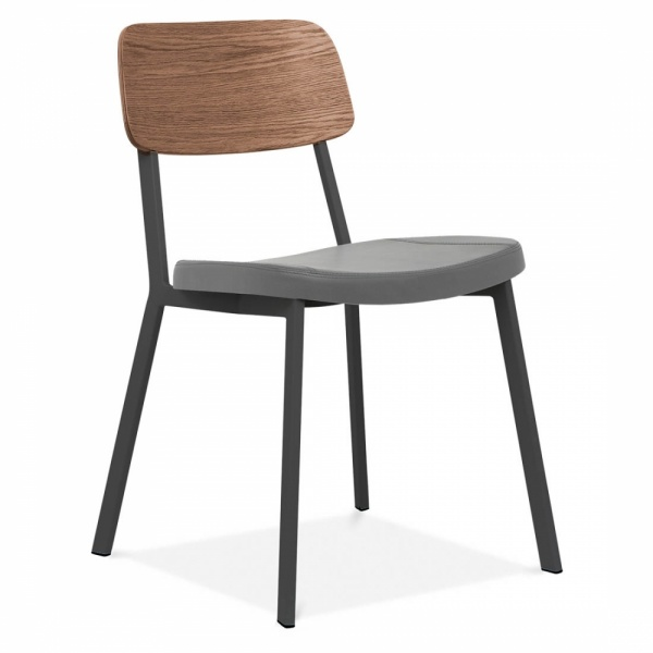 Black Modern Hipster Chair With Grey Faux Leather Seat By