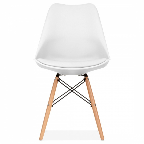 White soft pad dining chair with dsw style wood legs cult uk for Chaise eames rose pale