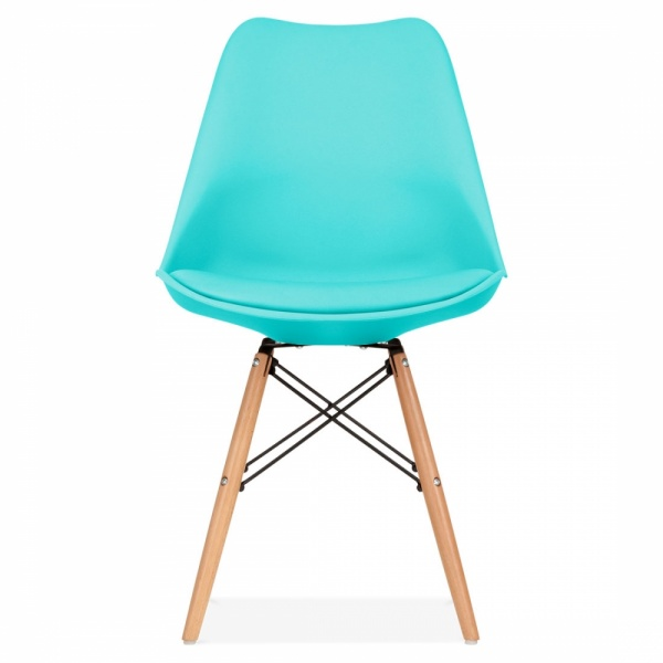 Turquoise soft pad dining chair with dsw style wood legs cult uk - Turquoise upholstered dining chair ...