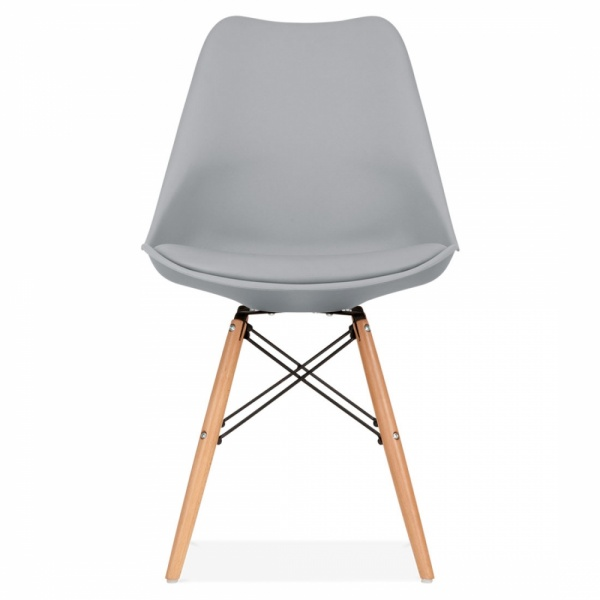 Cool grey soft pad dining chair with dsw style natural - Natural wood dining chairs ...