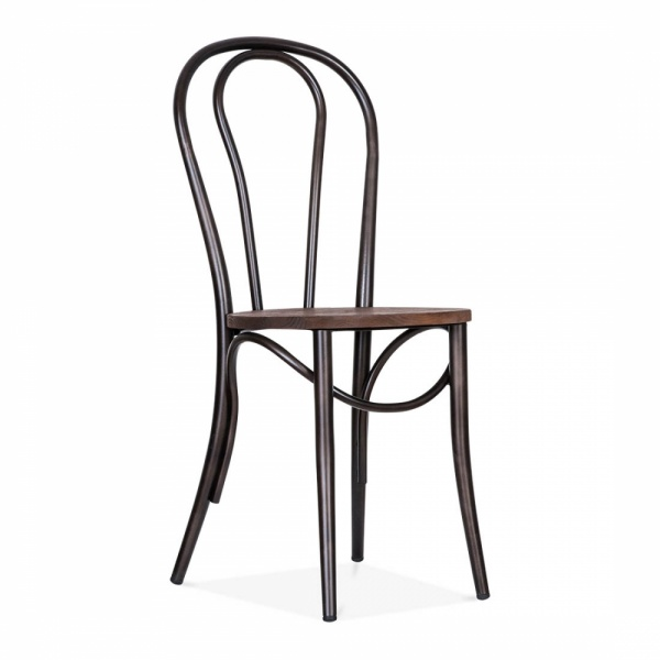 Thonet Style Metal Bistro Chair With Wood Seat   Raw Finish ...