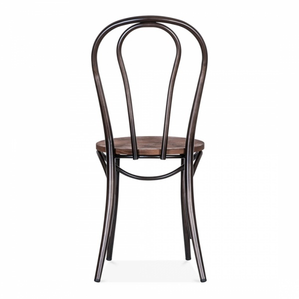 Raw Finish Thonet Style Bistro Chair with Wood Seat – Black Bistro Chair