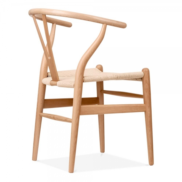 Hans wegner style wishbone chair in natural wood cult for Danish design furniture