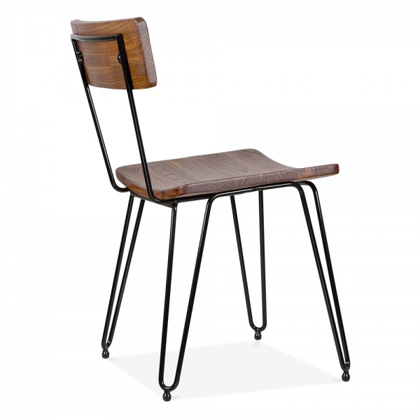 ... Cult Living Hairpin Chair With Wood Seat   Black ...