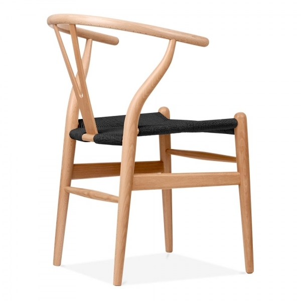 Hans Wegner Style Natural Wood Wishbone Chair with Black Seat Cult UK