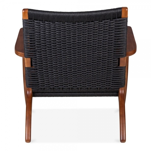 hans j wegner ch25 chair in brown wood with black seat. Black Bedroom Furniture Sets. Home Design Ideas