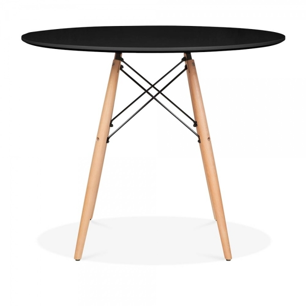 Eames style large black dsw round table dining table for Table eames dsw