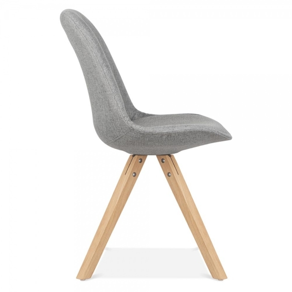Eames inspired pyramid upholstered dining chair in cool for Chaise eames tissu