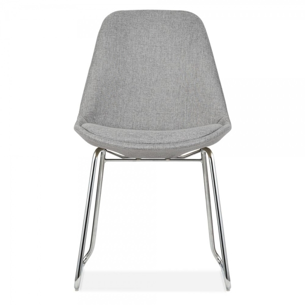 ... Eames Inspired Upholstered Dining Chairs With Soft Pad Seat   Cool Grey  ...