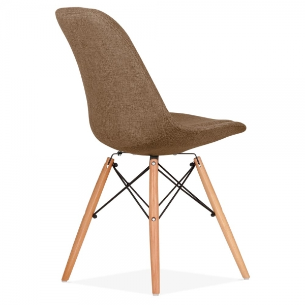 Eames inspired brown upholstered dining chair with dsw - Natural wood dining chairs ...