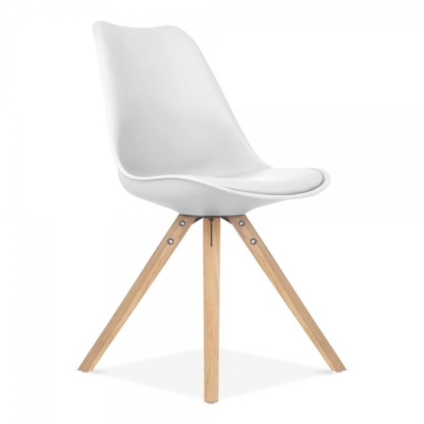 Eames inspired white dining chair with pyramid oak wood - Chaises blanches ikea ...