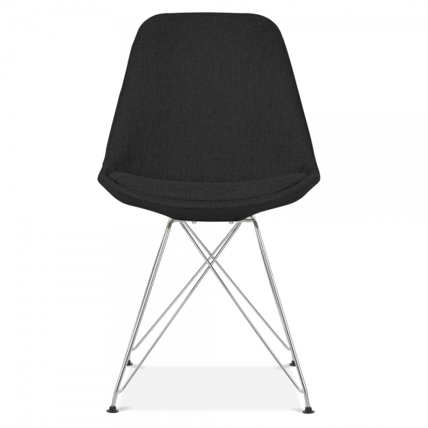 Eames inspired black upholstered dining chair cult for Upholstered dining chairs with black legs