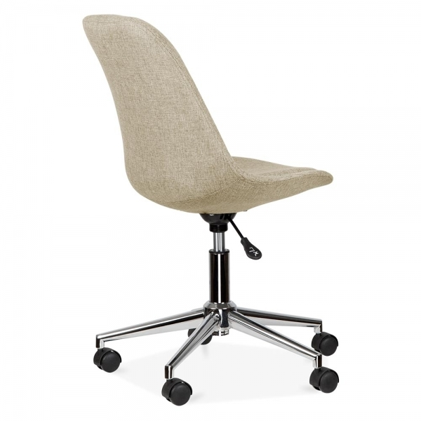 eames inspired beige upholstered office chair with castors | cult uk