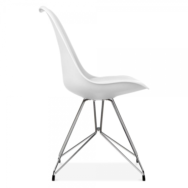 Eames inspired white dining chair with geometric legs for Chaise eames metal