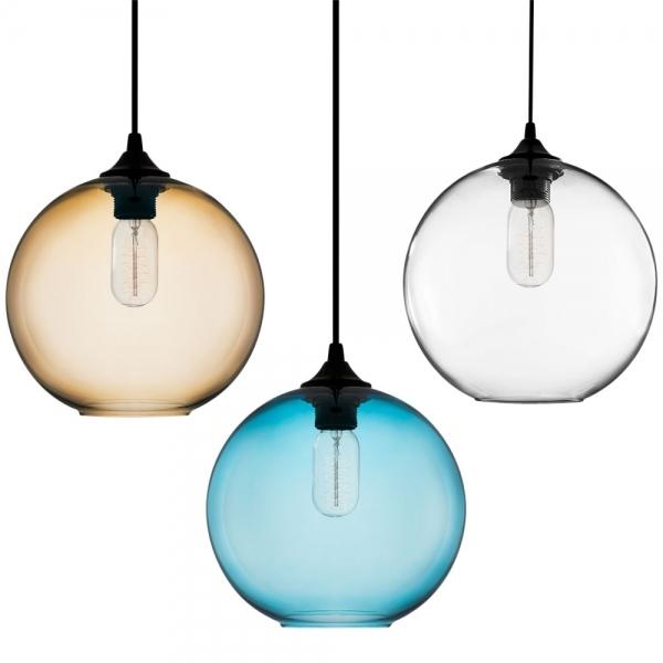 Blue industrial solitaire glass pendant light bar restaurant edison industrial solitaire modern glass pendant light bright blue aloadofball Images