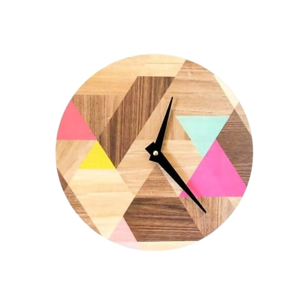 geometric wood effect vinyl clock cult furniture uk