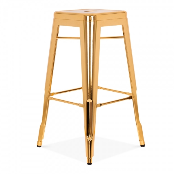 Gold 75cm Tolix Style Industrial Stool Cult Furniture Uk