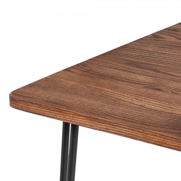 Black Hairpin Table In With Solid Wood Top Black 120cm