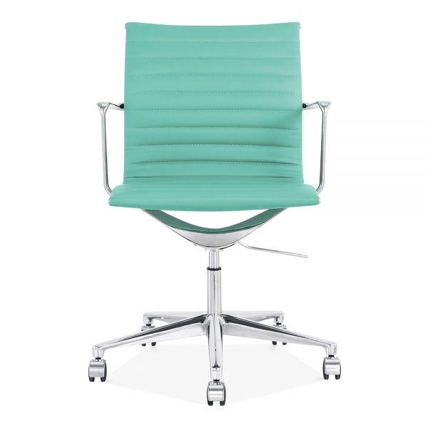 cult living turquoise ribbed office chair with short back | cult uk