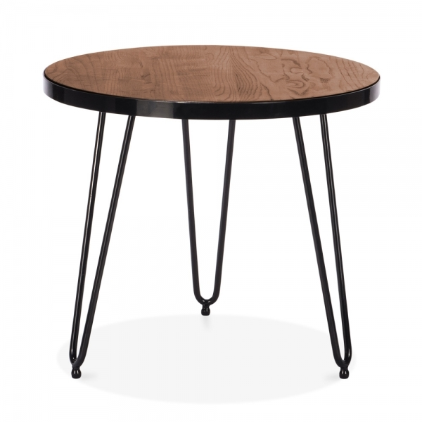 Round Wood Hairpin Coffee Table: Cult Living 61cm Hairpin Side Table In Walnut