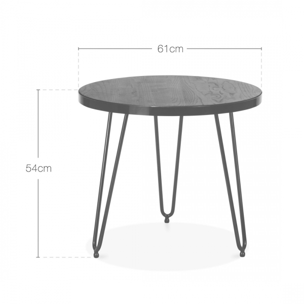 ... Cult Living Hairpin Round Side Table   Walnut 61cm. U2039