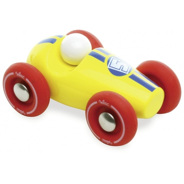 vilac mini race car wooden toy set of 6 red