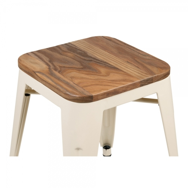 sc 1 st  Cult Furniture & Cream with Natural Wood Seat 45cm Tolix Style Stool | Cult UK islam-shia.org