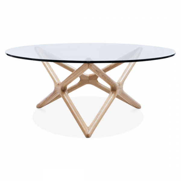 Natural Beech Wood Star Glass Top Coffee Table Living Room Furniture