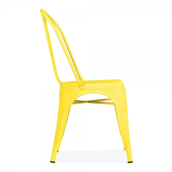 ... Xavier Pauchard Tolix Style Metal Side Chair   Yellow ...