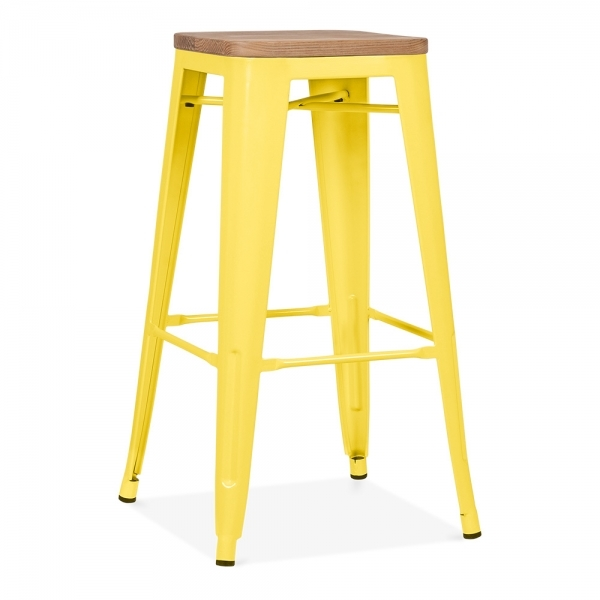 ... Xavier Pauchard Tolix Style Metal Stool with Natural Wood Seat - Yellow 75cm ...  sc 1 st  Cult Furniture & Yellow with Natural Wood Seat 75cm Tolix Style Stool | Cult UK islam-shia.org