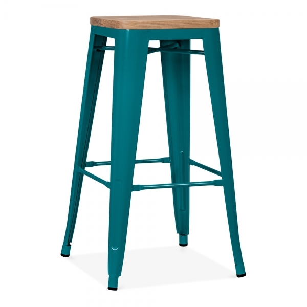 Tolix Stool With Natural Wood Seat 75cm In Teal Cult Uk
