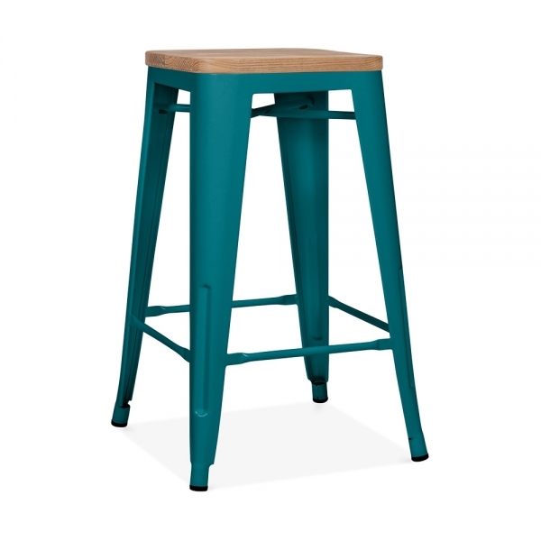 teal with natural wood seat 65cm tolix style stool cult uk. Black Bedroom Furniture Sets. Home Design Ideas