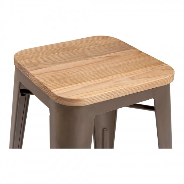sc 1 st  Cult Furniture & Rustic with Option Wood Seat 65cm Tolix Style Stool | Cult UK islam-shia.org
