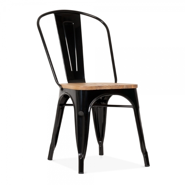 Black side chair with elm wood seat cult furniture for Chaise noire conforama