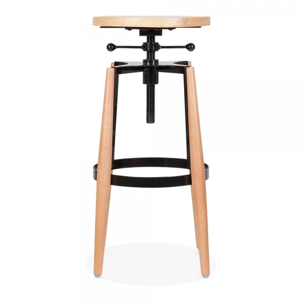 Peckham Adjustable Metal And Wood Swivel Bar Stool Black