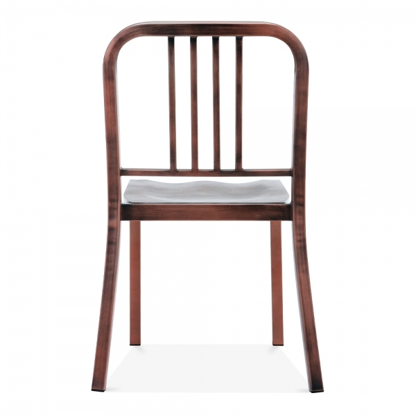 navy style metal dining chair brushed copper