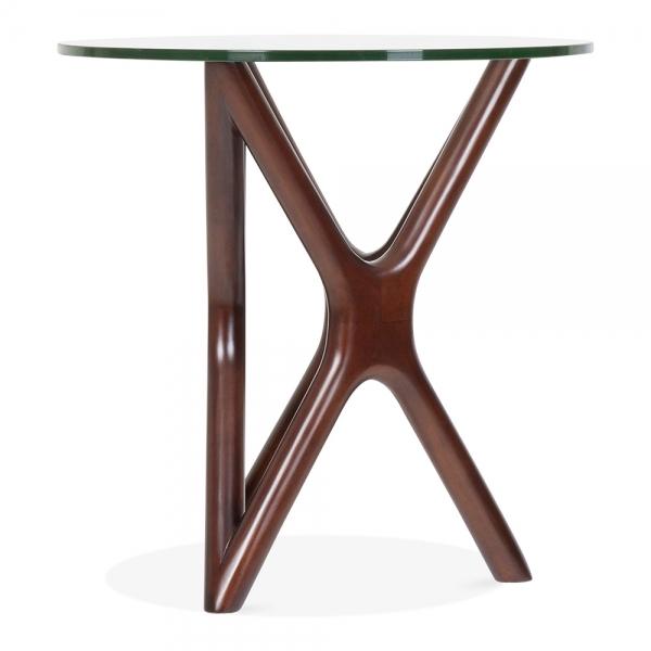 ... Cult Living Star Glass Top Side Table   Walnut 56cm ...