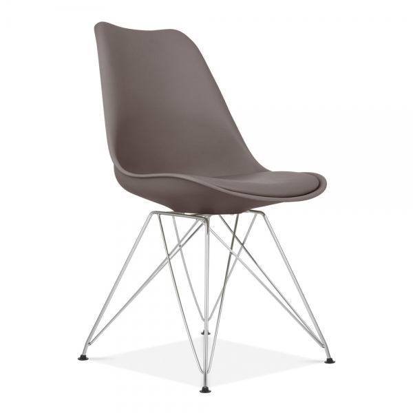eames inspired dining chair in grey with metal legs cult uk. Black Bedroom Furniture Sets. Home Design Ideas