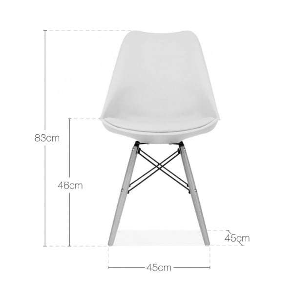 Warm grey dining chair with dsw style wood legs cult for Chaise blanche eames