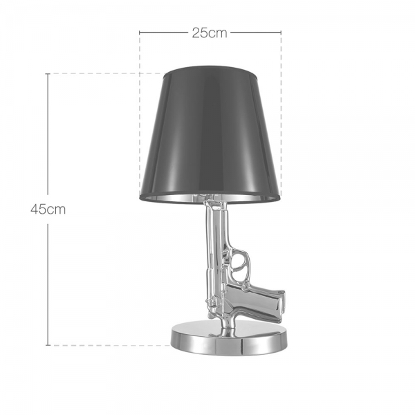 Cult Living Gun Table Lamp Chrome with White Shade | Contemporary ...