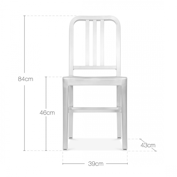 navy style metal dining chair matte black