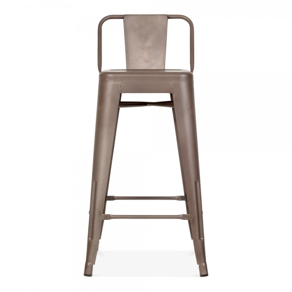 Tolix style metal bar stool with low back rest rustic 65cm cult uk - Tolix low back bar stool ...